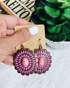 Copper & Pink Concho Earrings