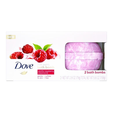 Dove Milk Swirls Bath Bombs - Vanilla Raspberry Creamsicle (2 Pack) Sulfate Free