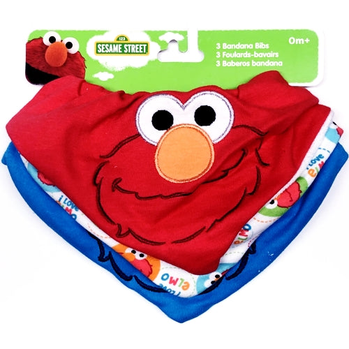 Sesame Street Elmo/Cookie Monster Bandana Bibs (3 Pack) Size 0M+