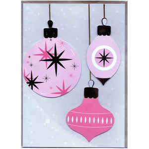 "Pink Ornaments Christmas Greeting Card with Envelope (5"" x 7"")"