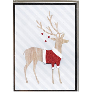 "Fancy Christmas Reindeer Christmas Greeting Card with Envelope (5"" x 7"")"