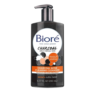 Biore Charcoal Acne Clearing Face Cleanser (6.77 fl. oz.) Great for Oily Skin