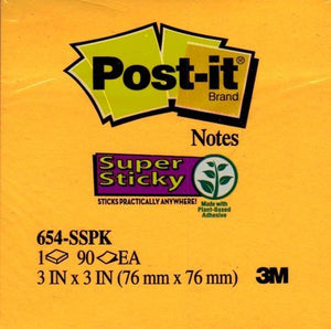 Post-it 3'' x 3'' Bright Color Super Sticky Note Pad 90 Sheets (Colors Vary) with Free Local Delivery in Champaign & Vermilion County IL.