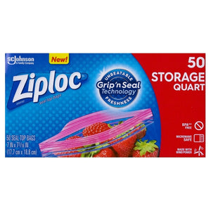 Ziploc Quart Size Plastic Seal Top Bags (50 Pack) Grip 'n Seal Technology