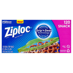Ziploc Snack Size Plastic Seal Top Bags (120 Pack) Grip 'n Seal Technology