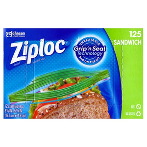 Ziploc Sandwich Size Plastic Seal Top Bags (125 Pack) Grip 'n Seal Technology
