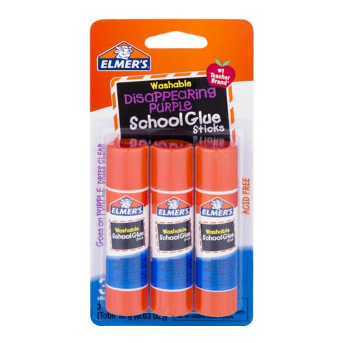 Elmer's Washable Disappearing Purple School Glue Sticks (3 Pack) Total Net wt. 0.63 oz.