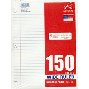 "Wide Ruled 8"" x 10-1/2"" Notebook Paper (150 Sheets)"