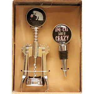 Corkscrew & Wine Bottle Stopper Set -  Crazy Cat Lover (2-Piece Set)