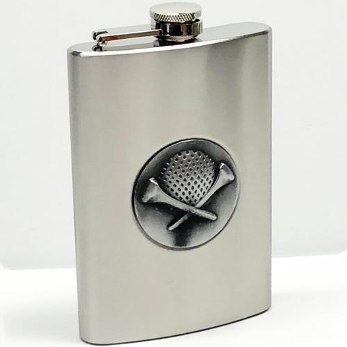 Golf Ball & Tees Satin Finish Stainless Steel Flask with Attached Leakproof Cap 8 oz. with Free Local Delivery in Champaign & Vermilion County IL.