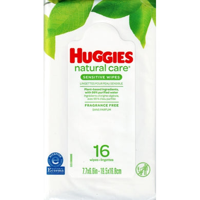 Huggies Natural Care Sensitive Wipes  (16 Pre-moistened Wipes) Fragrance Free
