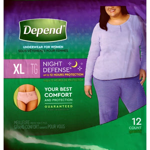 Depend Night Defense Incontinence Overnight Underwear for Women XL (12 Pack ) Blush Color Designs