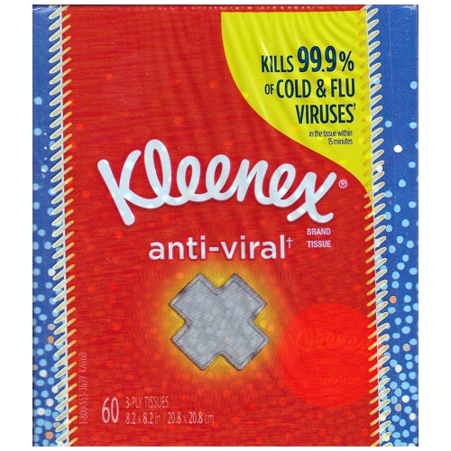 Kleenex Anti-Viral 3-Ply Facial Tissues Cube Box (60 count)