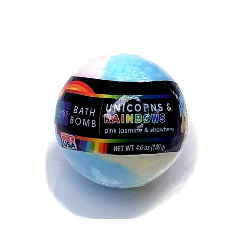 Unicorns & Rainbows Bath Bomb - Pink Jasmine & Strawberry (4.6 oz.)