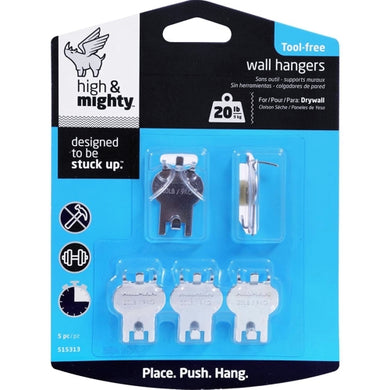 High & Mighty Tool-Free 20 lb. Wall Hangers for Drywall (5-piece)