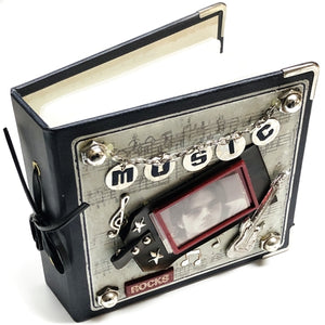 "Music Rocks 4"" x 6"" Audio Compact Disc Album Gift Boxed (Holds 24 CDs) with Free Local Delivery in Champaign & Vermilion County IL."
