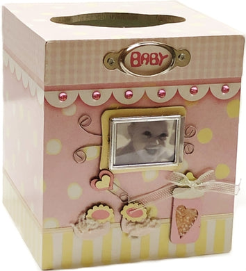 It's A Girl Handcrafted Photo Frame Tissue Box Holder (4.75
