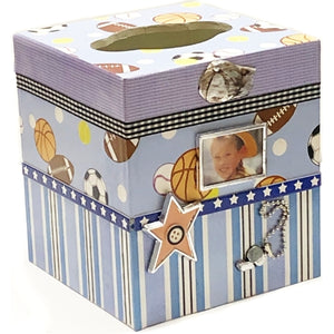 "All Sports Handcrafted Photo Frame Tissue Box Holder (4.75"" x 4.75"" x 5.5"")"