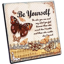 "Be Yourself Inspirational Handcrafted Decorative Wood Plaque Gift Boxed (8"" x 8"")"