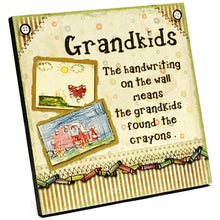 "Grandparents Fun Handcrafted Decorative Wood Plaque Gift Boxed (8"" x 8"")"