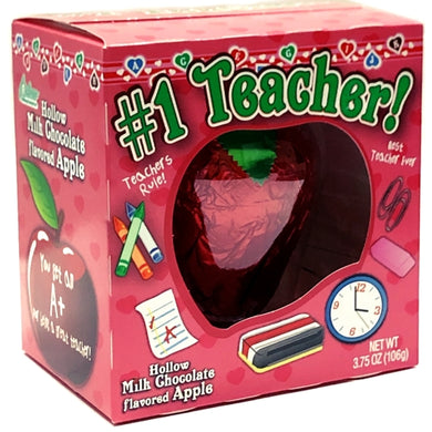 #1 Teacher Apple-shaped Hollow Milk Chocolate (3.75 oz.)