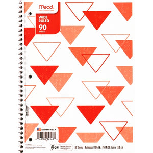 "Mead Wide Ruled 7.5"" x 10.5"" Spiral Notebook (90 Sheets) Colors Vary"