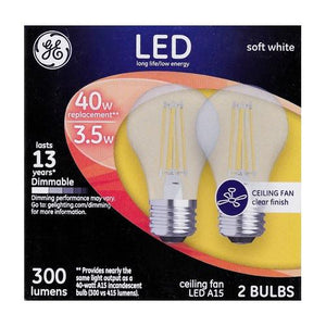 GE 3.5W Dimmable Clear LED Light Bulbs - Soft White (2 Pack)
