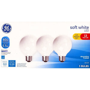 GE 5.5 Watt Dimmable Globe G25 LED Light Bulbs - Soft White (3 Pack)