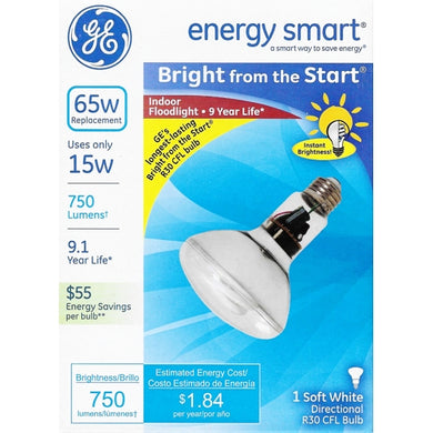 15W BR30 Indoor Flood Light CFL Bulb Soft White