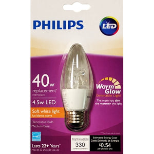 Philips 4.5W Decorative Dimmable B12 LED Light Bulb - Soft White (1 Count) 40W Replacement