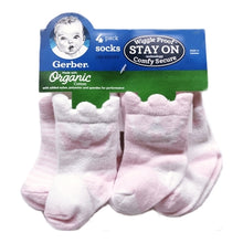 Gerber Organic Cotton Wiggle Proof Infant Socks - Pink/White (4 Pack) Select Size