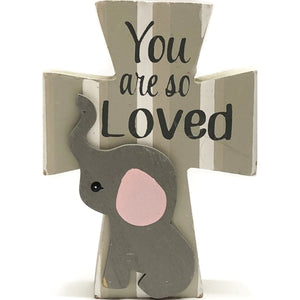 "Elephant Cross You are so Loved Decorative Wood Decor (4"" x 5.5"")"