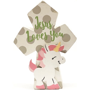 "Unicorn Cross Jesus Loves You Decorative Wood Decor (3.75"" x 5.5"")"