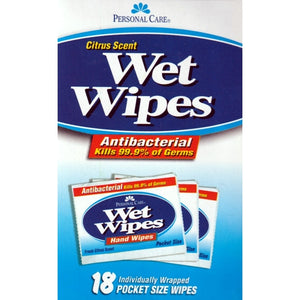 Personal Care Antibacterial Wet Wipes - Citrus Scent (18 Pocket Size Wipes) Kills 99.9% of most germs