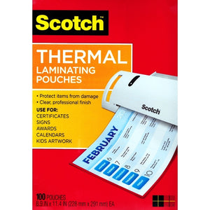 "Scotch Thermal Laminating Pouches - 8.5"" x 11"" (100 Pack)"