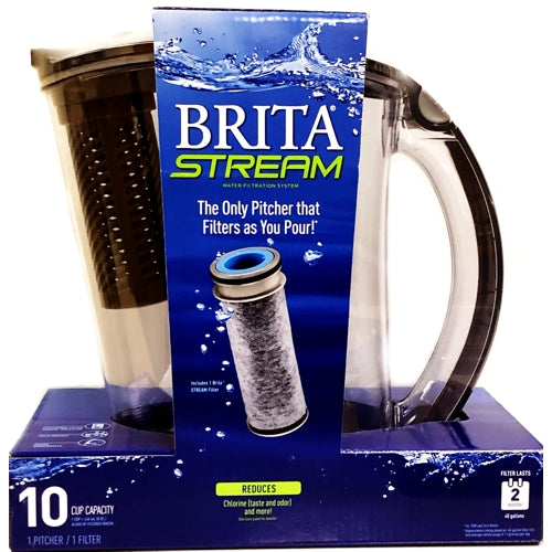 Brita Stream Filter Water Pitcher (10 Cup) Filters as You Pour