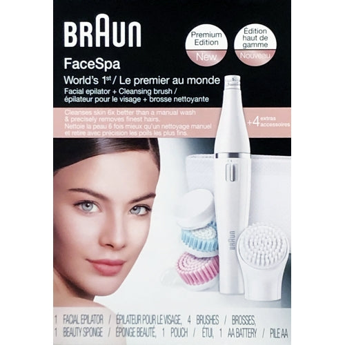 Braun FaceSpa Facial Epilator + Cleansing Brush Set (Battery Operated) Premium Edition