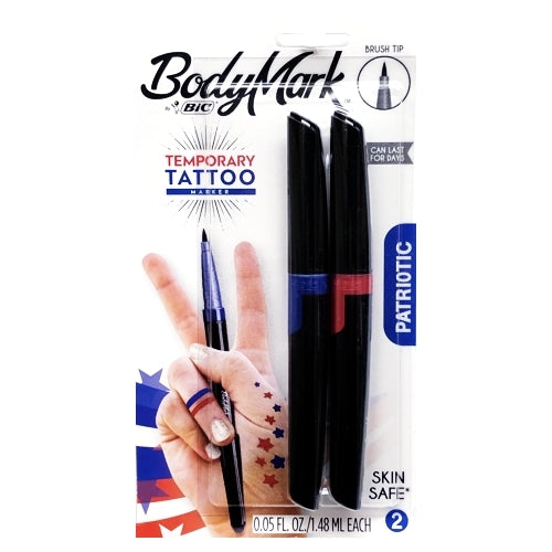 BodyMark Temporary Tattoo Markers - Blue/Red (2 Pack) Patriotic Colors