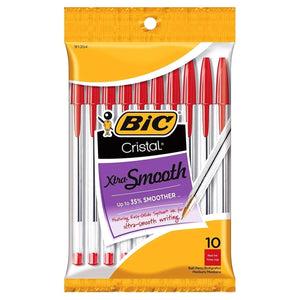 Bic Cristal Xtra Smooth Red Ball Point Ink Pens - Medium (10 Pack)