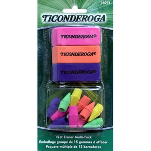 Ticonderoga Colorful Big Eraser/Cap Eraser Multi-Pack (15 Count)