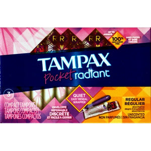 Tampax Pocket Radiant Regular Compact Tampons - Unscented (3 Pack )