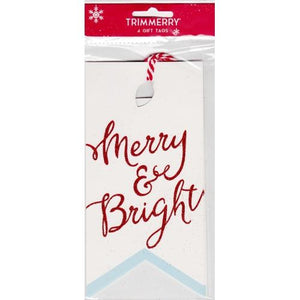 Merry & Bright Christmas Large Gift Tags with Strings (4 Pack) with Free Local Delivery in Champaign & Vermilion County IL.