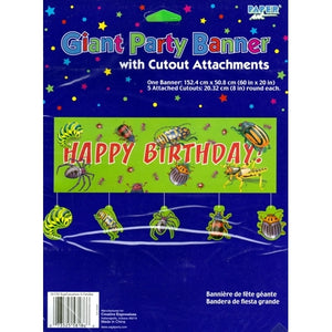 "Bugs Everywhere Giant Happy Birthday Party Banner with Cutout Attachments (60"" x 20"")"