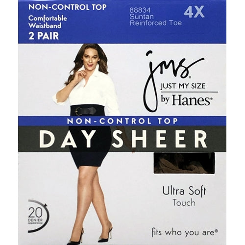 Just My Size Day Sheer Non-Control Top Pantyhose Size 4X - Suntan (2 Pair)