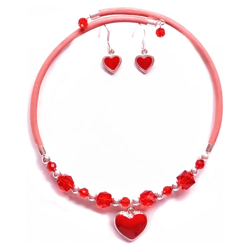 Fashion Red Heart Beaded Flexible Choker Necklace and Earring Set (Pink/Red)