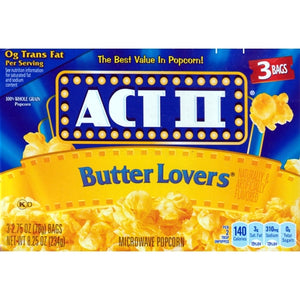 Act II Butter Lovers Microwave Popcorn (Net wt. 8.25 oz - 3 Pack)