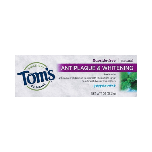 Tom's Fluoride-Free Antiplaque & Whitening Natural Toothpaste - Peppermint (Net Wt. 1 oz. ) Travel Size