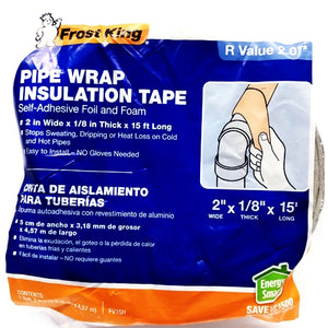 "Frost King Self-Adhesive Foil and Foam Pipe Wrap Insulation Tape FV15H (2"" x 1/8"" x 15')"