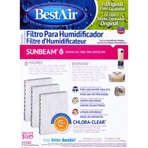 BestAir Humidifier Filter Replacement for Sunbeam/Holmes/Bionaire - H100 (3 Pack) With Chlora-Clear