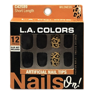 Nails On Short Length Fashion Nail Tips Black/Leopard Wildness Nails (12 Pack)